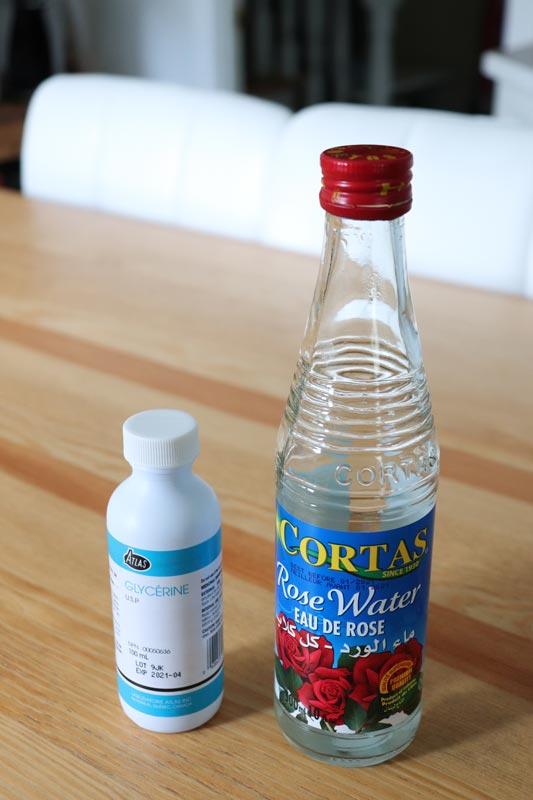 glicerina y agua de rosas para limpiar la cara naturalmente