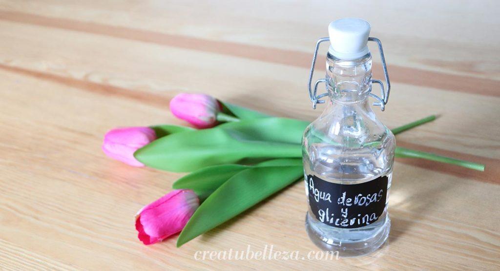 locion de agua de rosas para la cara